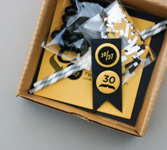 Black and Gold 30th Birthday in a Box via Kara's Party Ideas