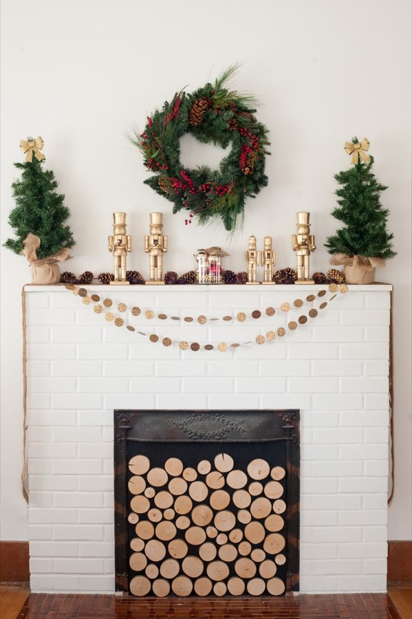 DIY Golden Nutcracker + Chestnut Holiday Mantel